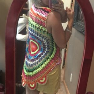Hippie colorful crochet vest boho Spell gypsy